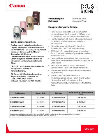 IXUS 310 HS_Sales_Sheet_DE - Foto Basler Aarau