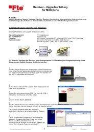 Receiver - Upgradeanleitung für MAX-Serie - FTE Maximal
