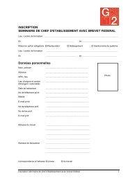 Formulaire d'inscription seminaire G2 - GastroSuisse