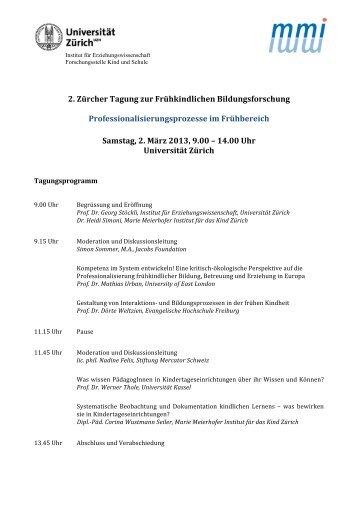 2. Zürcher Tagung zur Frühkindlichen Bildungsforschung - Marie ...