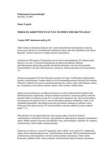 miksi eu-kriittisyys ei näy suomen eduskunnassa? - Frit Norden
