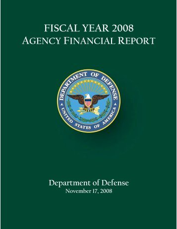 fiscal year 2008 agency financial report - Office of the Under ...