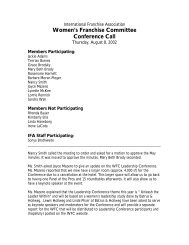 Women's Franchise Committee Conference Call - International ...