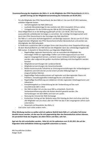 Zusammenfassung des Angebotes des RdA e.V. an die Mitglieder ...