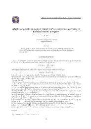 Algebraic points on some Fermat curves and some quotients of ...