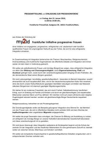 Pressemitteilung Frankfurter Initiative my2id - Frankfurter Presseclub