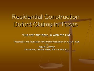 Residential Construction Defect Claims in Texas - Foundation ...