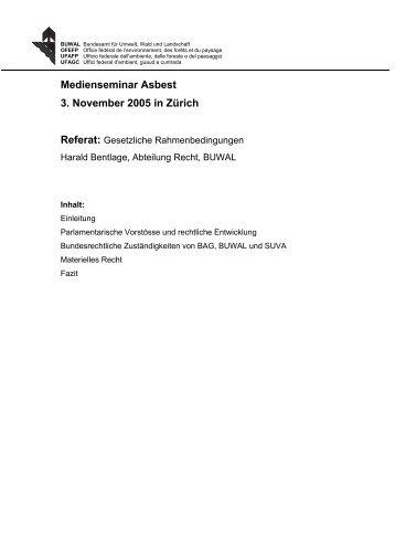 Gesetzliche Rahmenbedingungen - FACH - BUWAL - BAFU - CH