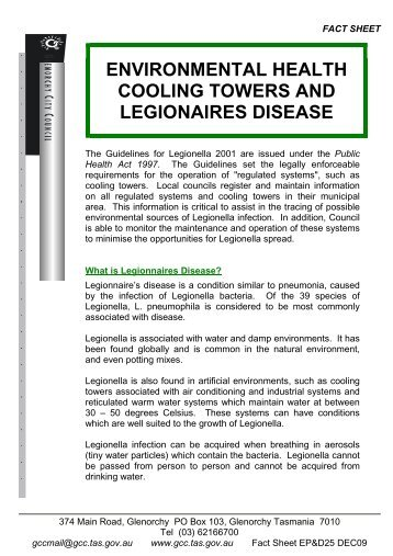 environmental health cooling towers and legionaires disease