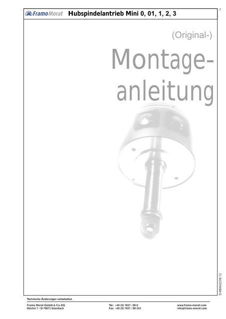 Hubspindelantrieb Mini 0, 01, 1, 2, 3 - Framo Morat