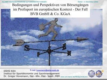 Bedingungen und Perspektiven von Börsengängen im Profisport im ...
