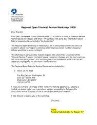 Regional Open Triennial Review Workshop, 2009 - Federal Transit ...