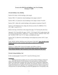 Errata to the 2004 Florida Building Code