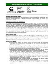 Intergovernmental Affairs Coordinator - City of Gaithersburg