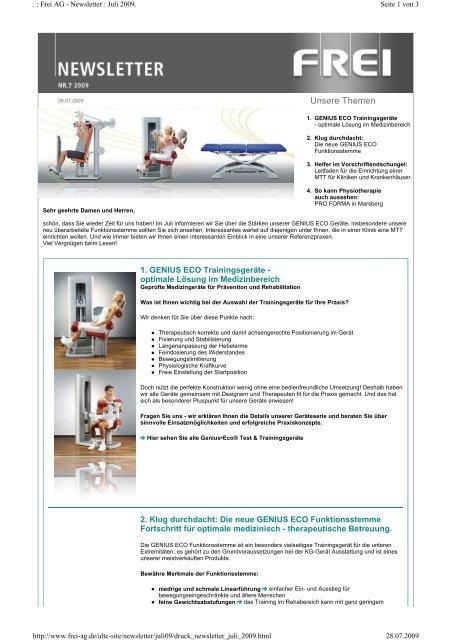 Newsletter : Juli 2009 - FREI AG