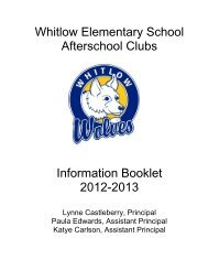 Whitlow Elementary School Afterschool Clubs Information Booklet ...