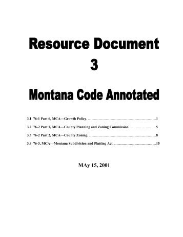 Montana Code Annotated - Gallatin County, Montana