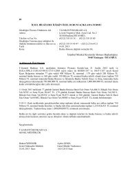 Banka Bonosu dağıtım sonuçları hk. - Garanti Bankası