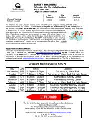 Schedule of Lifeguard Classes - City of Gaithersburg
