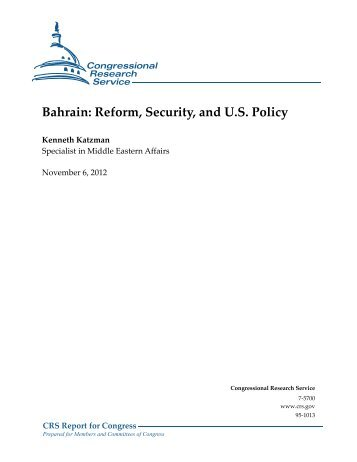 Bahrain: Reform, Security, and U.S. Policy - Foreign Press Centers ...