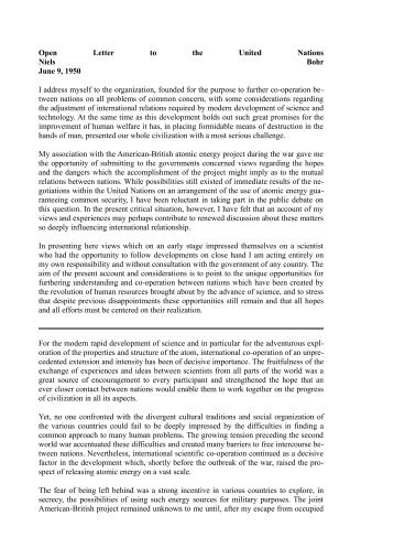 Open Letter to the United Nations Niels Bohr June 9, 1950 I address ...