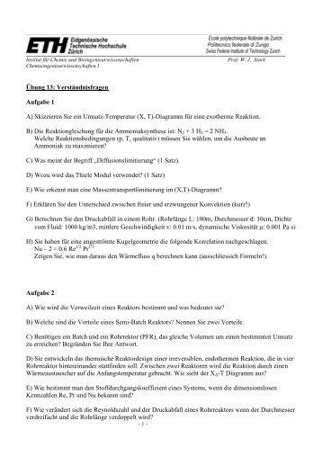 Übung 13: Verständnisfragen Aufgabe 1 A) Skizzieren Sie ein ...