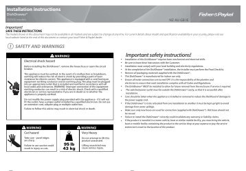 DD90S Installation guide - Fisher & Paykel