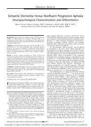 Semantic Dementia Versus Nonfluent Progressive Aphasia
