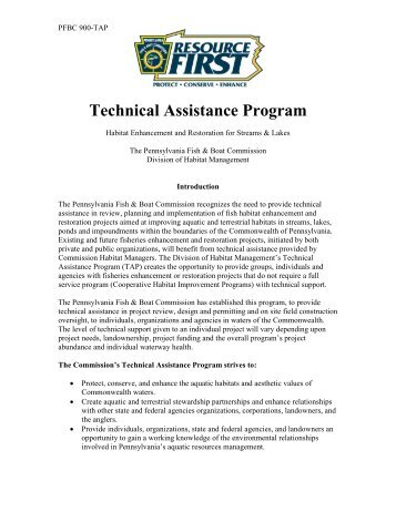 Technical Assistance Program - Pennsylvania Fish and Boat ...