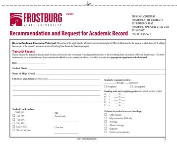 Academic Record Request Form - Frostburg State University