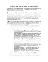 Franklin College Office of Financial Aid Code of Conduct