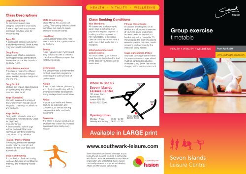 Group exercise timetable Available in LARGE print - Fusion