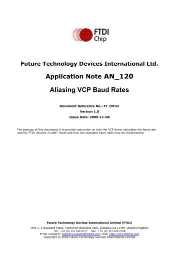 Aliasing VCP Baud Rates - FTDI