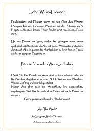 Liebe Wein-Freunde - gastro-tipp.ch
