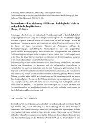 Postmoderne – Pluralisierung – Differenz: Soziologische, ethische ...