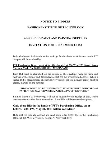 notice to bidders fashion institute of technology as-needed paint and ...