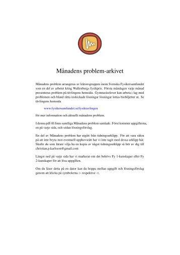 Gamla Månadens problem (pdf) - Svenska Fysikersamfundet