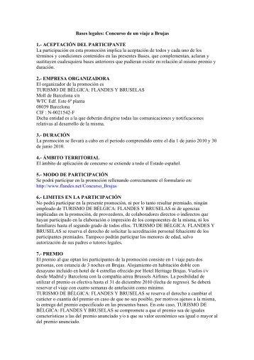 Bases legales: Concurso de un viaje a BrujasASES PROMOCIÓN ...