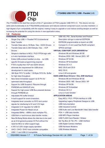 FT245BQ Data Sheet - FTDI
