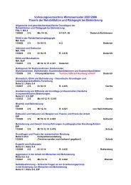 Vorlesungsverzeichnis Wintersemester 2007/2008 Theorie der ...
