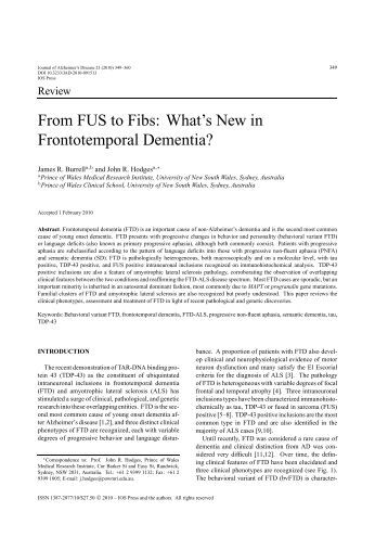 From FUS to Fibs: What's New in Frontotemporal ... - IOS Press