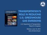 U.S. Department of Transportation Report to Congress Webinar ...