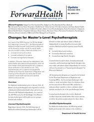 Changes for Master's-Level Psychotherapists - ForwardHealth Portal
