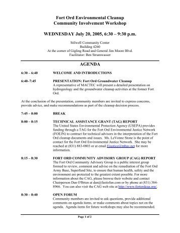 Workshops or this agenda - Former Fort Ord - Environmental Cleanup