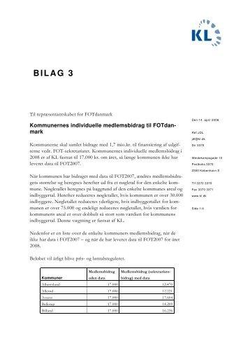 Bilag 3 - Kommunernes individuelle medlemsbidrag - FOTdanmark