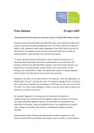 Report of the Business Regulation Forum Press Release - Forfás