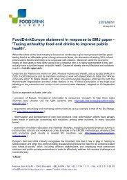 download the statement (pdf - 192 KB) - FoodDrinkEurope