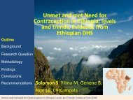 Unmet and met Need for Contraception in Ethiopia; levels and trends
