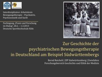 Zur Geschichte der psychiatrischen Bewegungstherapie in ...