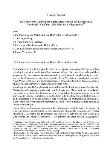Philosophie im Rahmen der curricularen Struktur ... - Friedrich Kümmel